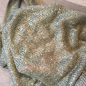 Knitted sheer khaki and sequins tank